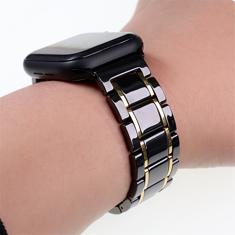 Ceramic Watch Band for Apple Watch 4 5 44mm 40mm Iwatch 6 SE 38mm 42mm Ceramic and Stainless Steel Strap Bracelet Wristband Belt