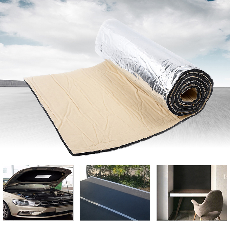 AUDEW 200cmx50cm 7mm/10mm Car Truck Firewall Heat Sound Deadener Noise Insulation Mat Wool Car Heat Sound Thermal Proofing Pad