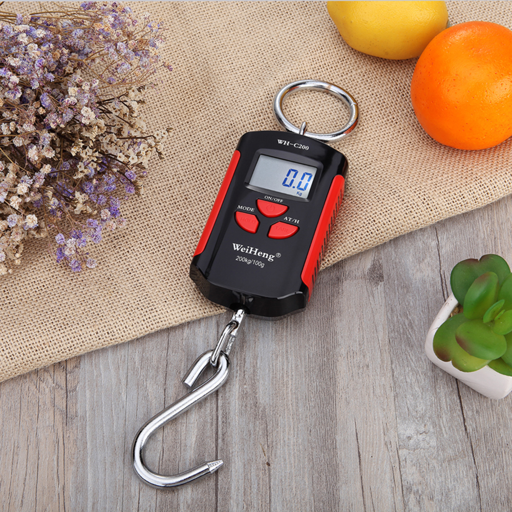 <font><b>200kg</b></font>/100g Pocket <font><b>Scale</b></font> Portable <font><b>Digital</b></font> Luggage <font><b>Scale</b></font> with Hanging Hook LCD kg, lb, jin image