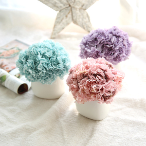 1 Bunch/6pcs Silk Carnation Artificial Flowers Bride Hand Bouquet Blooming Peony Fake White Flowers For Party Home Wedding Decor