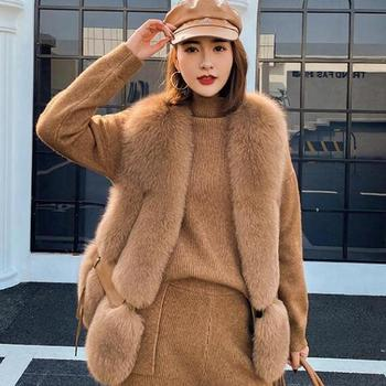 2020 nowych kobiet kamizelka z futra lisa moda zima oryginalna Fox kamizelki Gilets V-neck jesień Lady kurtki płaszcze najwyższej jakości luksusowe tanie i dobre opinie ZDFURS CN (pochodzenie) Prawdziwej skóry Na co dzień Moda szczupła futro Osób w wieku 18-35 lat Przycisk zadaszone REGULAR