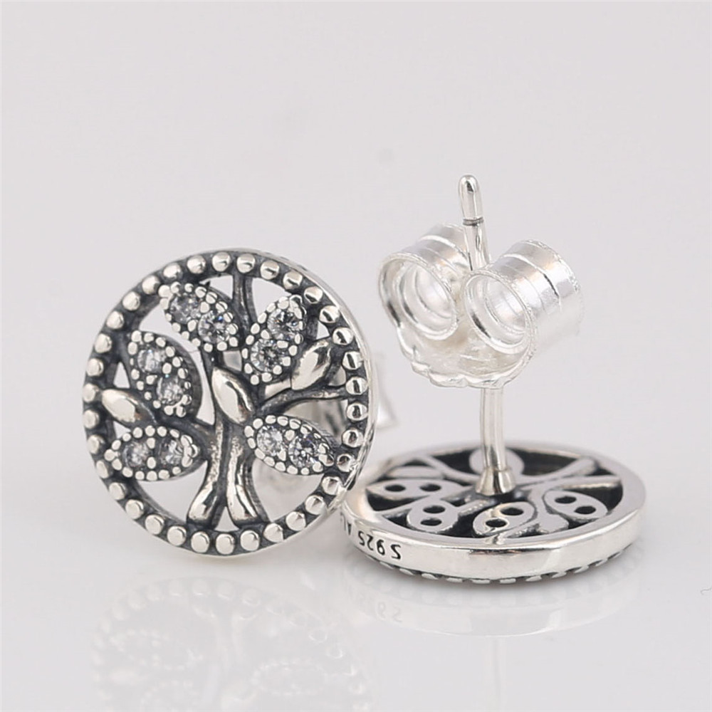 925 Sterling Silver Pan Earring Trees Of Life Stud Earrings With Crystal For Women Wedding Gift Fashion Jewelry