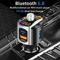 Автомобильный FM-трансмиттер с Bluetooth, Автомобильный MP3-плеер, USB QC3.0 PD18W, автомобильное зарядное устройство с быстрой зарядкой и двумя экранами...