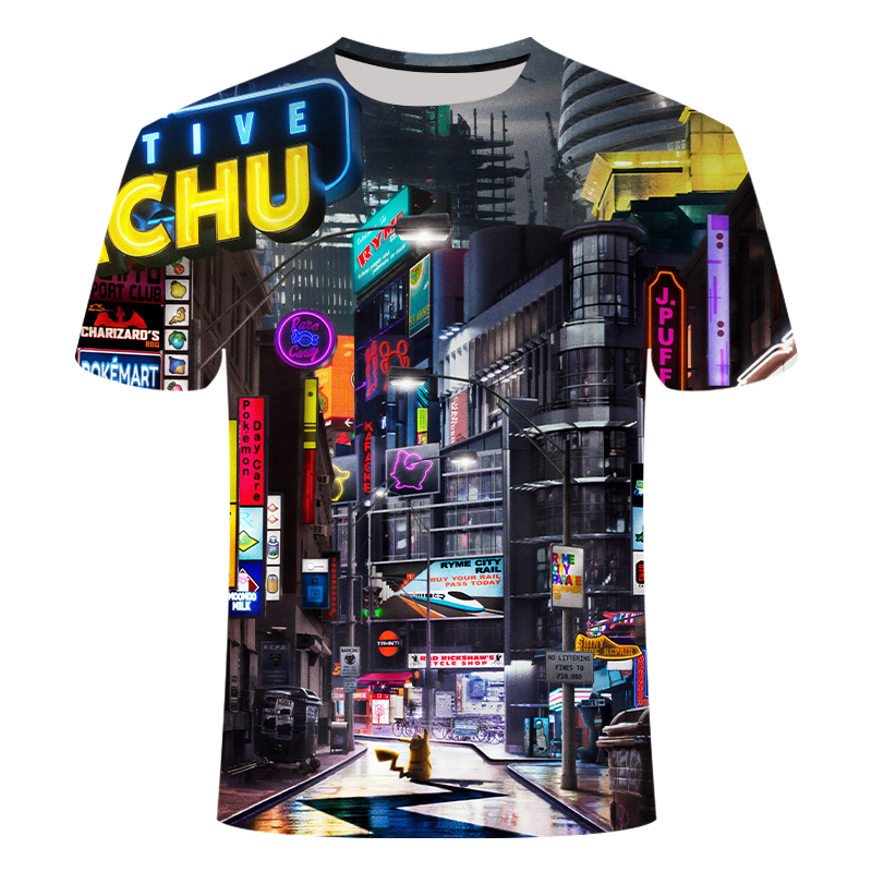 2020 new fashion picachu print t-shirt men and women summer beer clothing boys and girls hip hop street fashion image