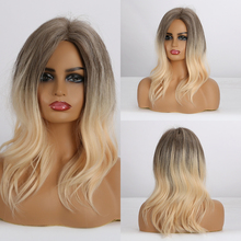 EASIHAIR Brown to Blonde Ombre Synthetic Wigs Medium Length Wavy Wigs for Women Heat Resistant Natural Daily Wig High Density