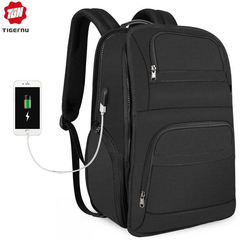 Tigernu مكافحة سرقة حقيبة ظهر لحمل جهاز الكمبيوتر المحمول ل 15.6 17 حقيبة للرجال النايلون Mochila مع RFID المياه مقاومة عارضة الظهر الذكور-في حقائب الظهر من حقائب وأمتعة على  مجموعة 1
