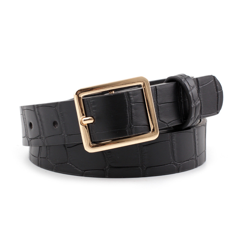 Designer Women Belt Black Brown Leather Waist Belts Square Gold Buckle Snake Crocodile Belts Ladies Female Cinturones Para Mujer