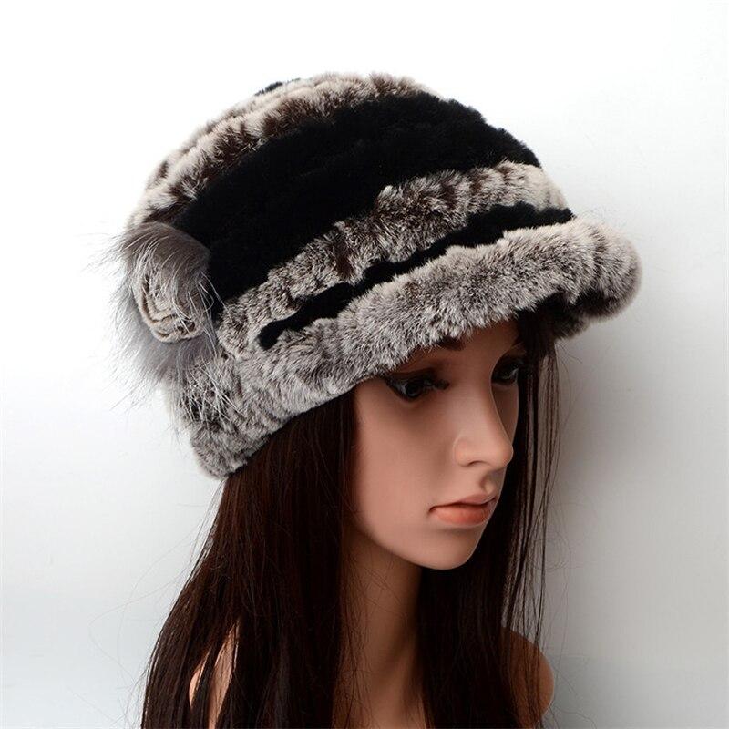 Зимние осенние теплые утепленные меховые шапки повседневные меховые женские русские козырьки шапочки вязаные шапочки Кролик меховой цветок полосатая женская шапка - Цвет: 3