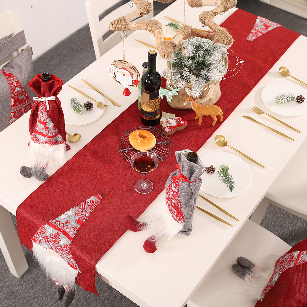 Christmas Table Runner Imitation Linen Tablecloth Table Runners Dinning Table Flag Xmas New Year Christmas Decorations For Home