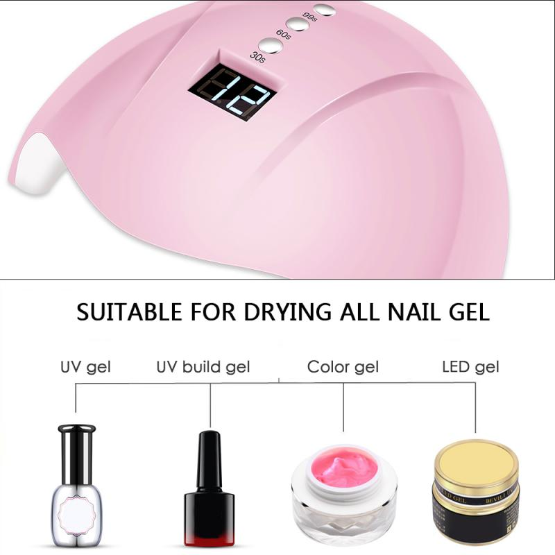 36W Professional UV Nail Lamp Pink High Power LED Nail Gel Dryer Lamp USB Interface Intelligent Induction Nail Care Tool