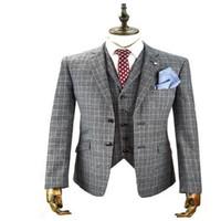 2020 Newest Mens Suits UK Designer Grey Two Piece Notched Lapel Formal Check Suit Slim Fit Custom Made