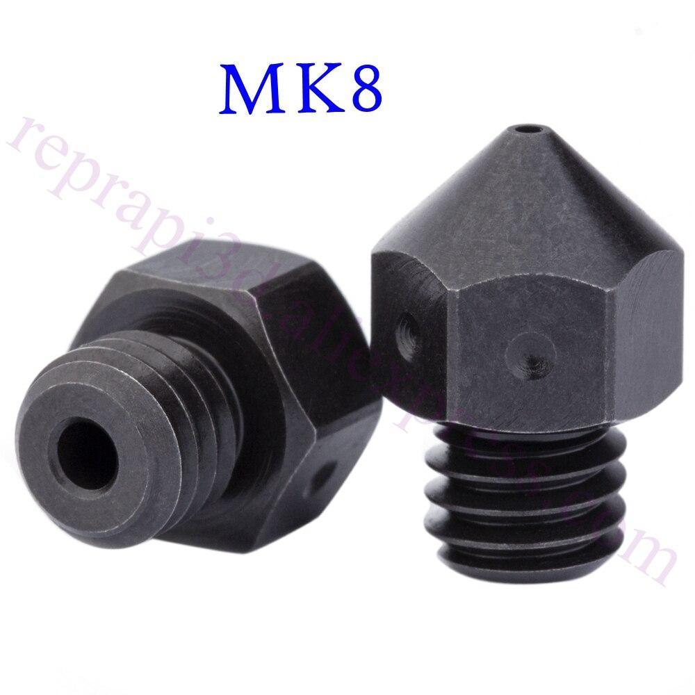 Alta Temperatura de Aço Ferramenta Temperado MK8 Bico F/Micro Suíço CR10 Criatividade CR-10 Ender3 MK Imprimir PEEK PEI Carbono fibra