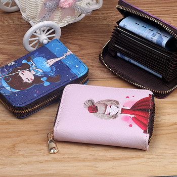 New Fashion Printed Women Card Bag PU Leather Wallet Cartoon  Girl Mini Zipper Clutch Business Case Credit Holder - discount item  34% OFF Wallets & Holders