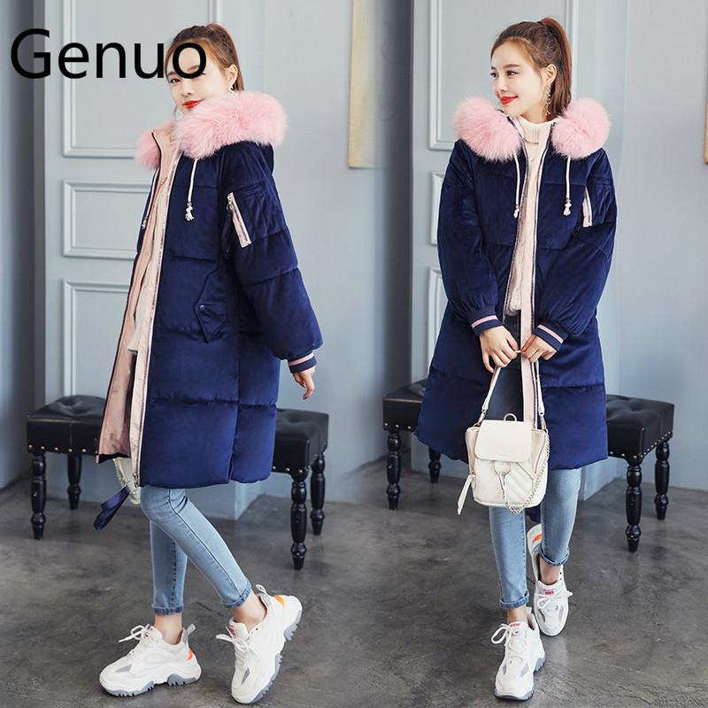 Genuo Women   Parka   2019 Winter Warm Plus Thick Large Faux Fur Jacket With Collar and Hood Women Plus Size XXXL Women Down Jacket