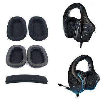 Foam Ear Pads Pillow Cushion Sponge Set Ear Cotton Earmuffs Breathable Mesh Accessories Head Beam For G633 G933 image
