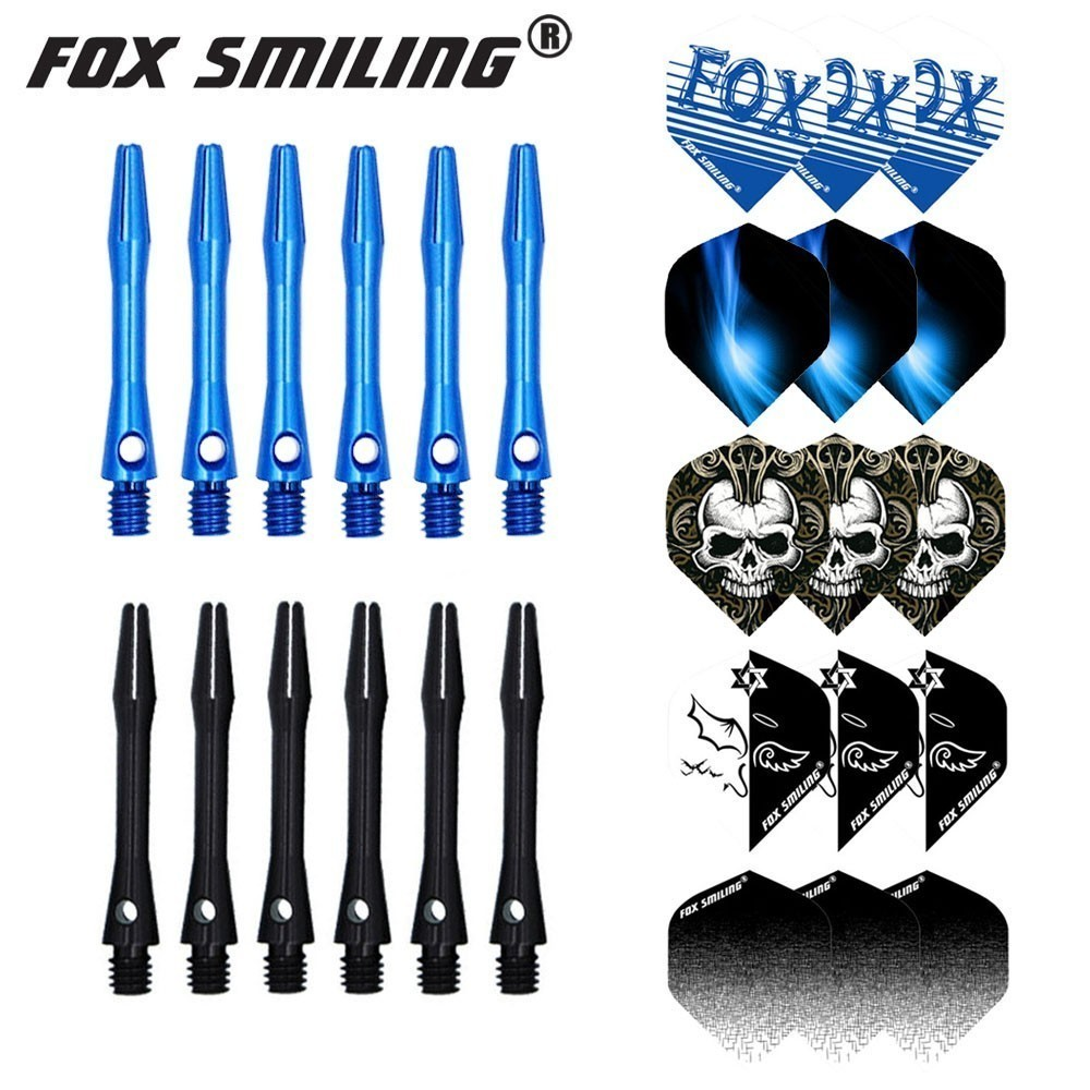 Fox Smiling 35mm Aluminium Dart Shafts And Darts Flights Set Dardos Feather Leaves Dart Accessories Set For Dartboard