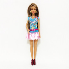 Fashion Girl Blue Tops Pink Skirt Set forBarbie Doll Clothes Accessories Play House Dressing Up Costume Kids Toys Gift