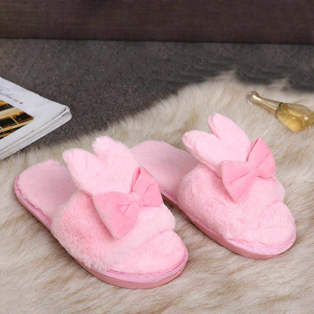Winter Women Home Slippers with Faux Fur Fashion Warm Shoes Woman Slip on Flats Female Slides Cute rabbit ears Slipper Plus Size