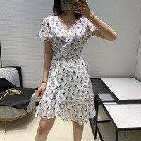 2020 Summer Women's Dress New Temperament Bird floral Print V Neck Lotus Leaf Dress Casual Dress Dress Elegant White Dress