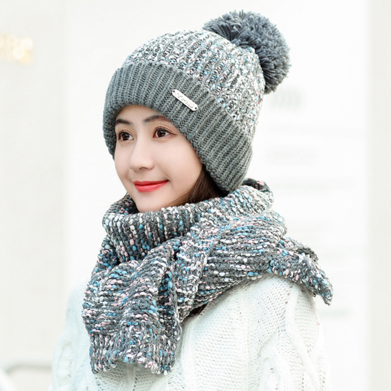 HT2872 Winter Accessory Women Hat Scarf Set Thick Warm Beanie Hat And Scarf Skullies Beanies Female Knitted Hat Scarf Winter Set
