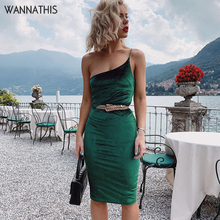 WannaThis One Strap Knee-Length Party Dress Solid Bodycon Skinny Shoulder Fashion Sexy Backless Irregular Single
