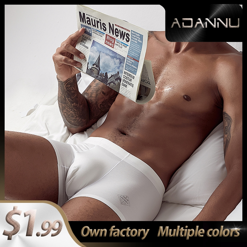 Panties  Cotton LOGO Soft Sexy Men Underwear Boxer Shorts 2020 New Brand Long Boxer Mens Boxershorts Underware Boxers  Man AD308