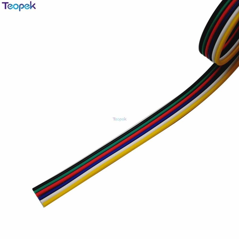 6 pin провода кабель удлинитель Разъем 4M/10 м/15 м/20 м/25 м/100 м для 5050 RGB CCT RGBW + CW RGBW + WW светодиодные ленты 22AWG линии освещения