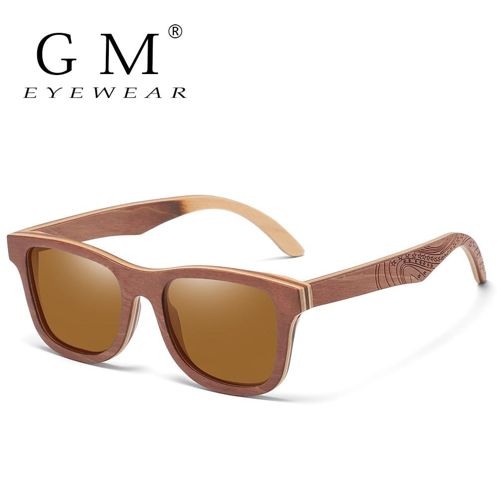 GM Polarized Skateboard Wooden Sunglasses Men UV400 Designer Sun Glasses Eyewear Gafas De Sol De Los Hombres Polarizados S4832