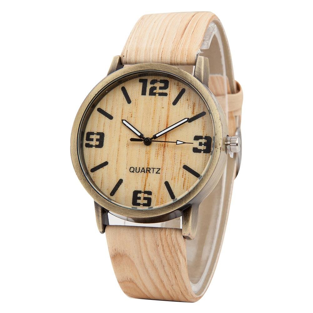 Wood Grain Round Dial Faux Leather Strap Couple Watch Arabic Numerals Quartz Couple Watches For The Couple Women Clock Reloj Muj