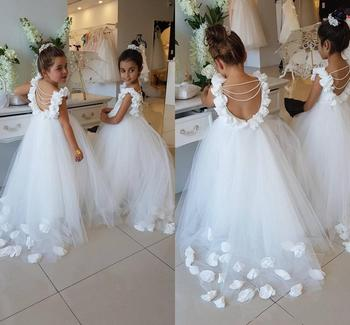 2020 Flower Girls Dresses Birthday Party Dresses Tulle Pearls Backless Princess Communion Children glitz pageant dresses tulle glitz pageant dresses long flower girls dresses for wedding gowns ball gown girls first communion mother daughter dresses