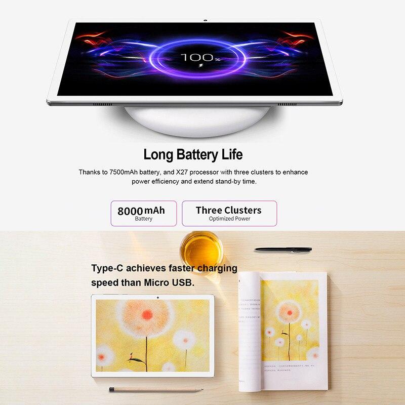 Presente livre tablet capa 4g lte 10.1 polegada 2.5d tablet pc 10 deca núcleo mtk6797 8 gb ram 128 gb 256 rom 2560*1600 android 8.0 - 2