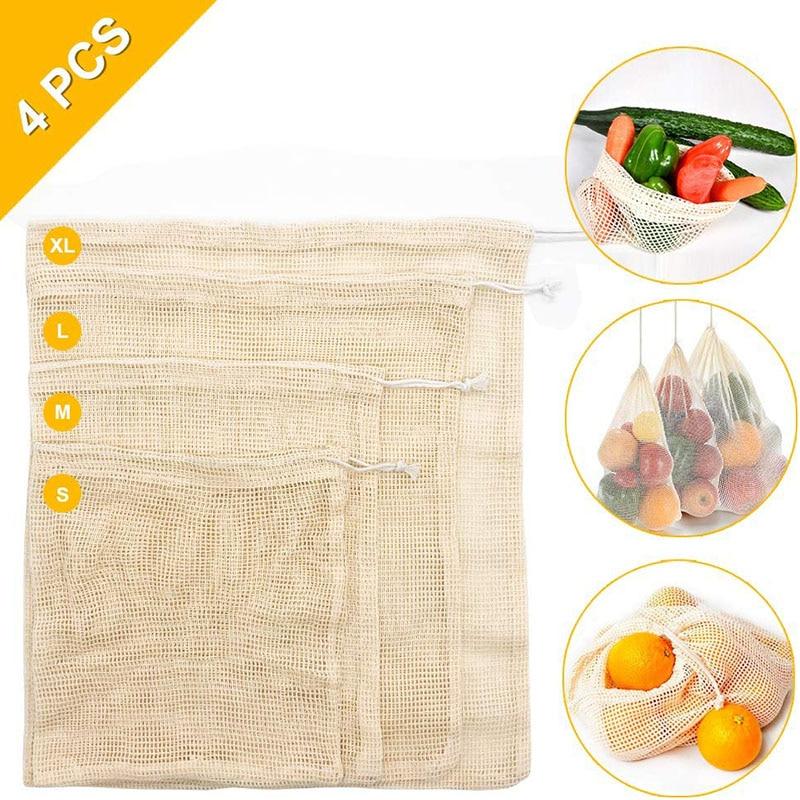 4PCS Reusable Ecological Bags Set for Fruit Vegetable Zero-waste Mesh Popular Cotton Eco friendly Biodegradable Products