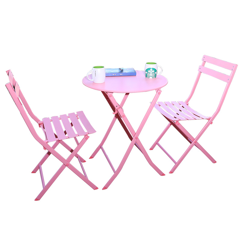Balcony table and chair three-piece outdoor garden wrought iron terrace folding milk tea cafe s chairs