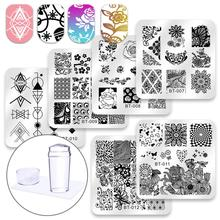 Biutee 6 Pcs Square Nail Stamping Plates Set Lace Flower Animal Pattern Nail Art Stamp Template Image Plate Stencils Tool Kits недорого