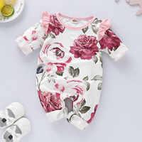 Mono de manga larga para bebés y niñas pequeñas, Pelele con estampado Floral y volantes, ropa para recién nacidos, pelele bonito para bebés y niñas