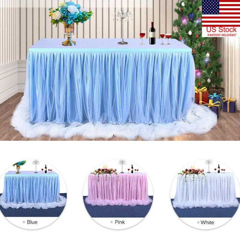 6ft Wedding Tulle Tutu Table Skirt Party Birthday Festive Baby Shower Decor