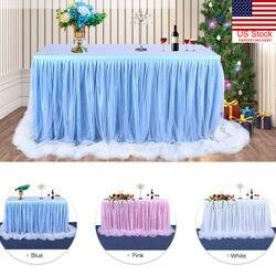 6ft casamento tule tutu mesa saia festa de aniversário festivo chá de fraldas decoração