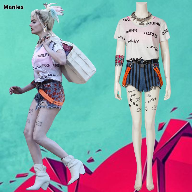 Birds Of Prey Cosplay Suicide Squad Batman Harley Quinn Costume Fancy Halloween Costumes For Adult Women Sexy White T-Shirt