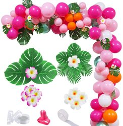 143Pcs Pink Green Hawaii Tropical Flamingo Balloon Arch Garland Kit Party Decorations DIY for Wedding Bachelorette Baby shower