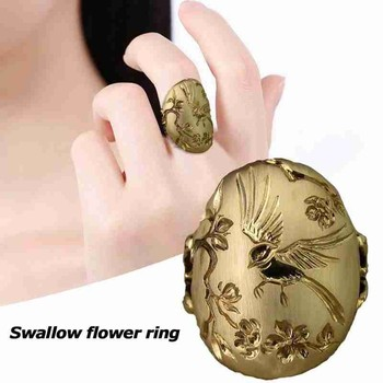 Creative Swallow Flower Sculpture Ring Bird Flowers Engraving Gold Retro Rings For Women Fashion Luxury Jewelry Christmas Gift image