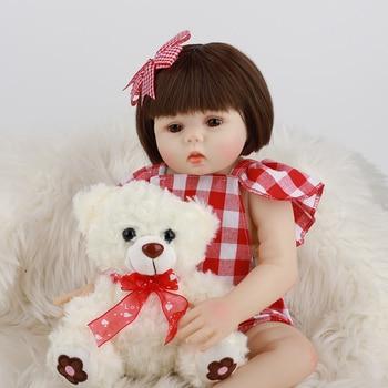48CM Full Silicone Reborn Baby Doll Girl Lifelike Vinyl Newborn Short Hair Princess Toddler Babies Alive Bonecas Birthday Gift