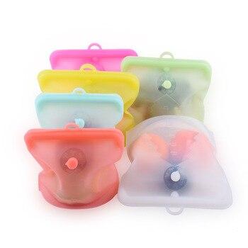1 Uds. Bolsa de alimentos frescos bolsa de almacenamiento de alimentos de cocina sin barra de amarre con puntero de fecha bolsa de almacenamiento de silicona de grado alimenticio bolsa subempaquetada