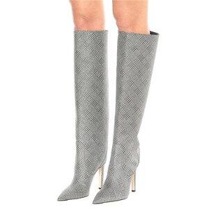 Image 5 - Thương Hiệu Thiết Kế Nữ Dài Cổ Cao Mỏng Gót Đầu Gối Giày Mũi Nhọn Đêm Xe Máy Hứa Botas Mujer Size Lớn shoes35 48
