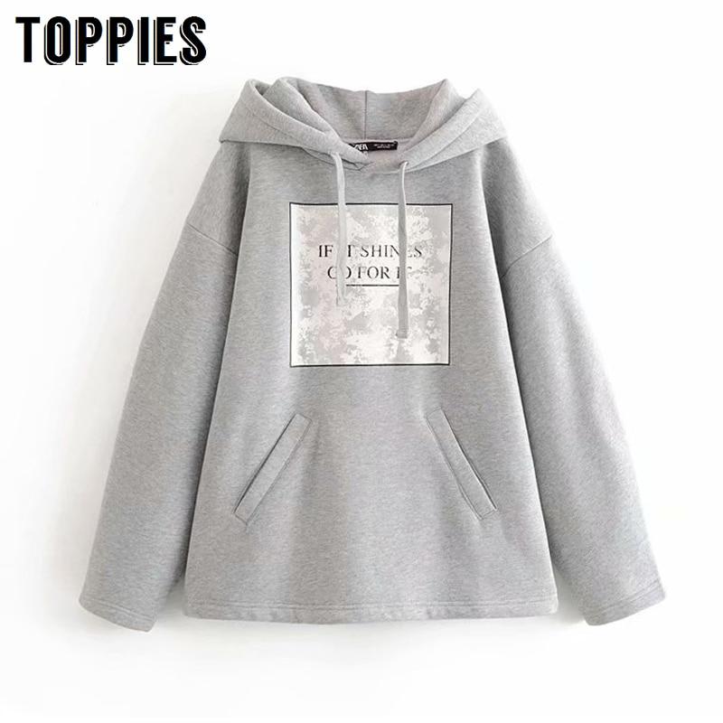 Gray Letter Printing Hoodies Sweatshirts Hooded Pullovers Autumn Winter Fleece Hoodies Oversized Tops