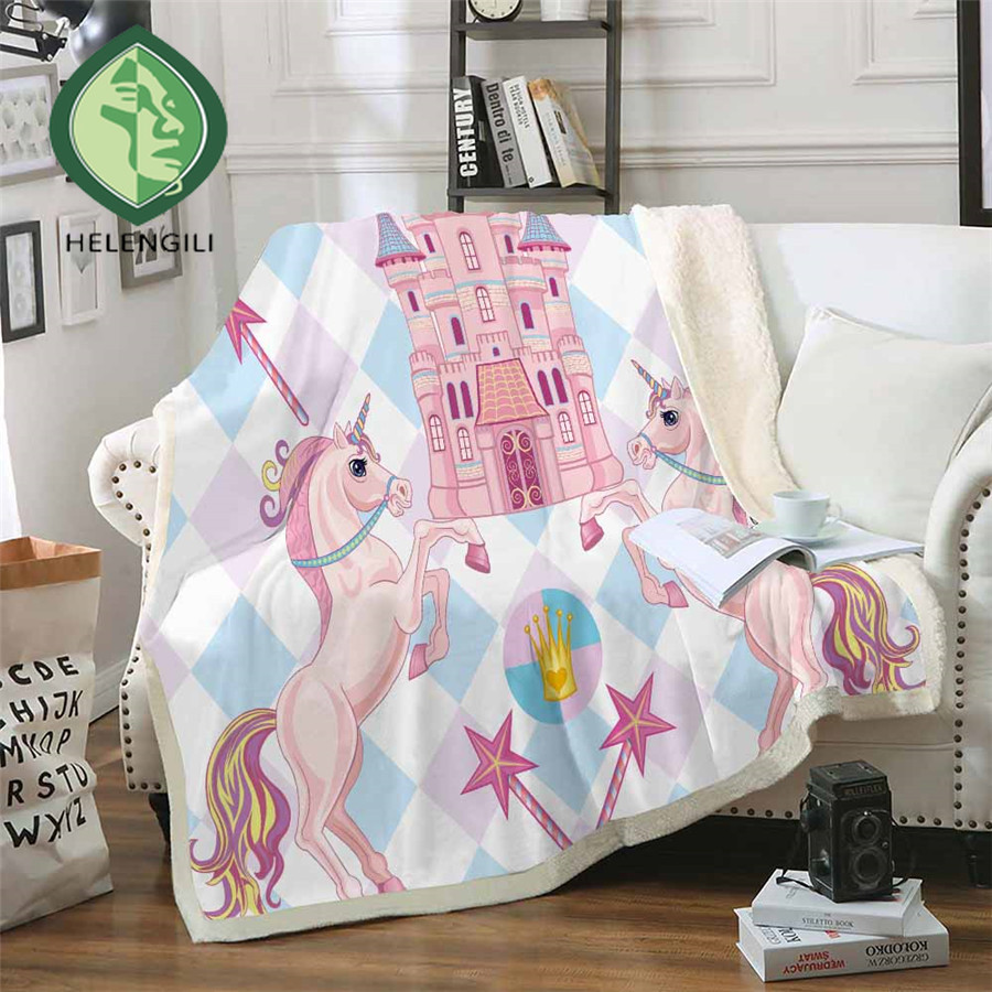 HELENGILI Cartoon Unicorn Sherpa Blanket Girly Floral Bedspread Velvet Plush Soft Comfortable Home Camping Aircraft Blanket