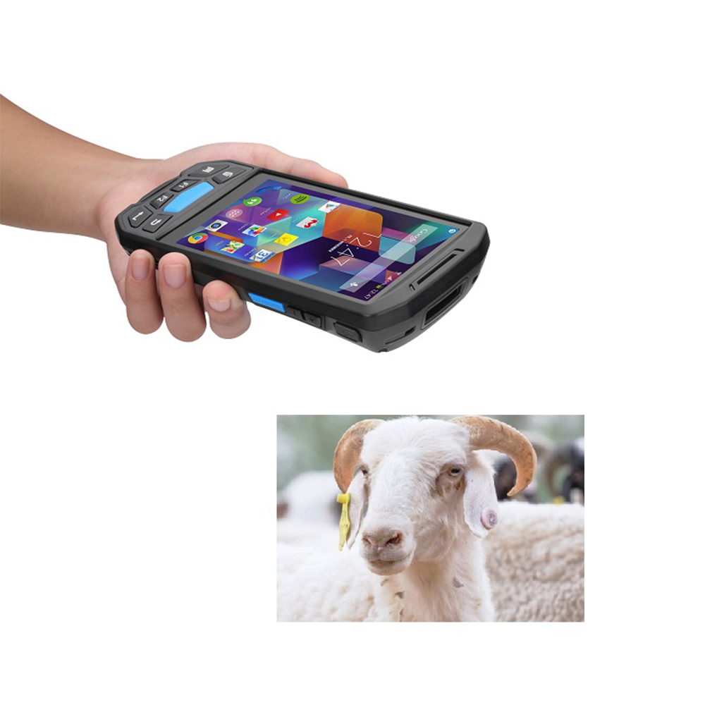 Android 8,1 мобильный Rfid Bluetooth 134,2 LF / HF / UHF 10m длинная фотография со сканером штрих-кодов 1D 2D для отслеживания скота