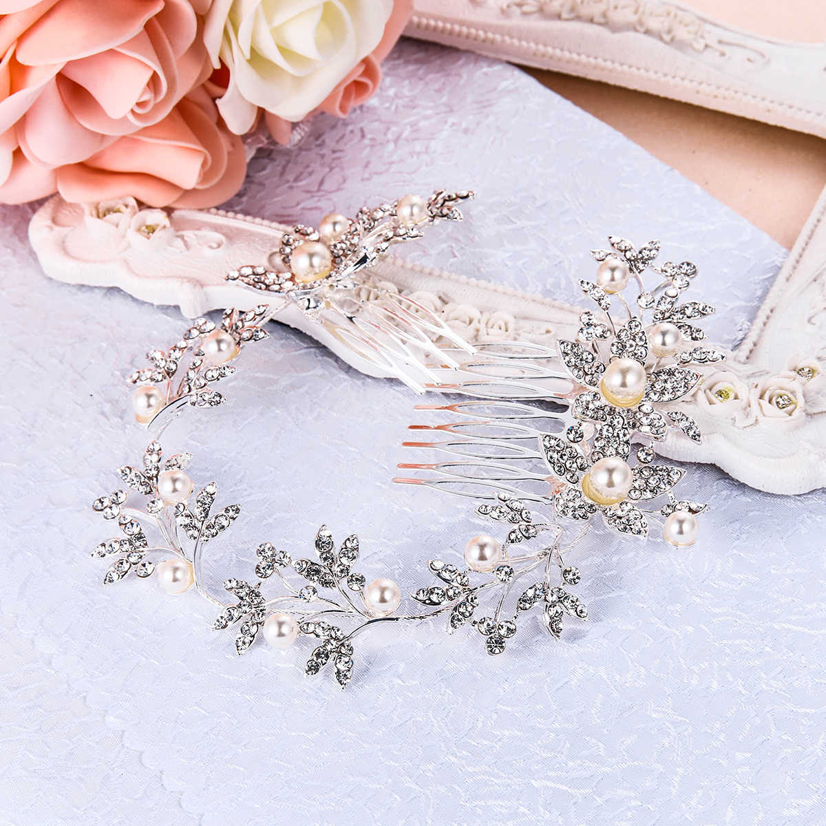 Tuliper Flower Pearl Bridal Hair Jewelry Headband Austrian Crystal Head Tiara For Women Wedding Bridesmaid Party Jewelry