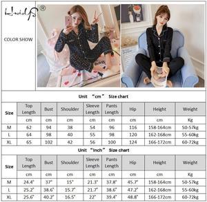 Image 5 - Весенне осенние пижамы женские пижамные комплекты с длинными рукавами Стразы с блестками пижамы женские пикантные пижамы Женская домашняя одежда