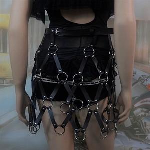 Image 5 - Short Skirt New Sexy Hollow Black Mesh PU Leather Skirt Leather Harness Bondage Skirts Chain Dress Belt Body Jewelry