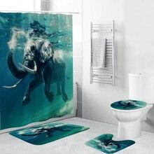 Subacquea Elefante Impermeabile Tenda Della Doccia 4 Pezzi Set Da Bagno Tappeto Wc Coperchio Bagno Zerbino Pad In Tessuto Resistente